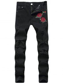 زهور مطرزة والتطريز جينز - أسود 34