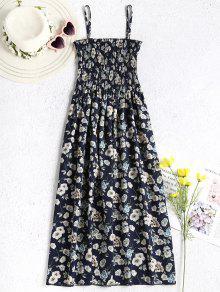 فستان منقوش بالزهور - منتصف الليل الأزرق