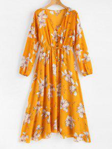 مزين بالزهور فستان طويل الأكمام - نحلة صفراء L