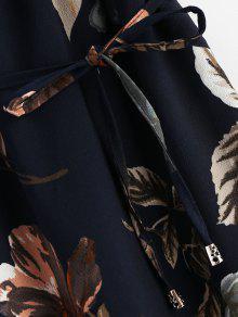 Hendidura Floral Con De Pizarra Oscuro Superpuesta Azul M Vestido f1qxwZf