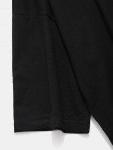 Negro Estampada Manga Corta De Camiseta Con Xl Lema Y7Rdqn6