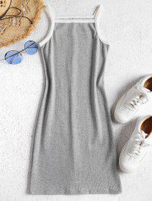 تباين محبوك اللباس BODYCON - اللون الرمادي Xl