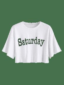 Crop Tee Blanco Saturday S Saturday Crop f6xqS