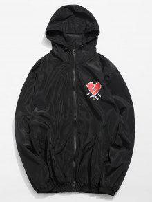 قلب مطبوعة مقاوم للماء خفيف الوزن معطف - أسود L