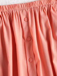 De Vestido Naranja S Rosa Hombro Botones Casual SHwn8qHC