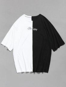 Blanco Contraste Face Camiseta M Empalme Smile wPnIO8Fqx