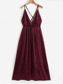 Satin Criss Cross Maxi Dress
