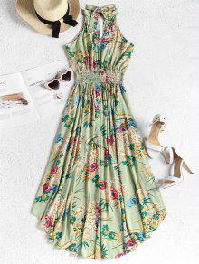 Con Cintura Alto Desgastada Verde S Vestido Rana De Floral qgEHwcBt