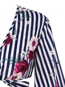 Azul S De De Medianoche Blusa Rayas Florales BP6qxw6AF