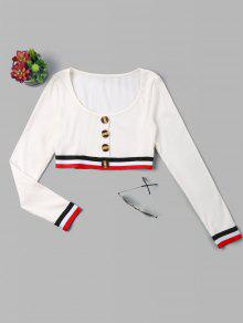 Blanco Crop Botones Tee S Stripes Patched wq44SPY
