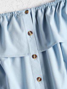 M Hombros Claro Con Vestido Mini Descubiertos Azul wOBS1