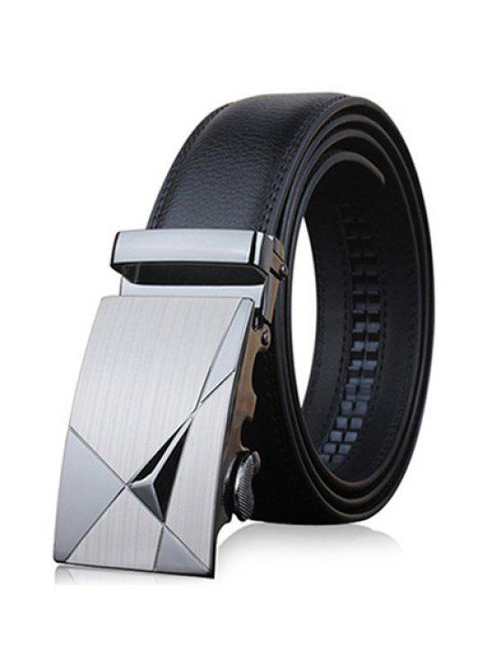 Stylish Triangle Shape Embellished Metal Buckle Black Wide Belt For Men - Preto