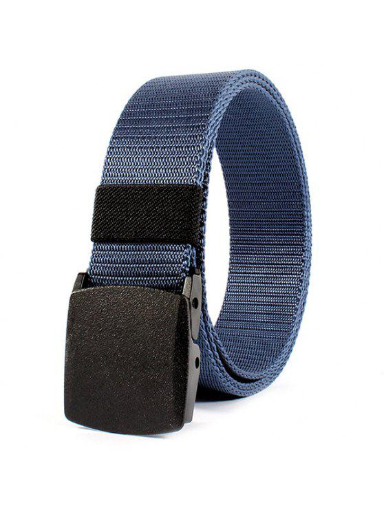 best Belt Metal Buckle Embellished Canvas Belt - BLUE