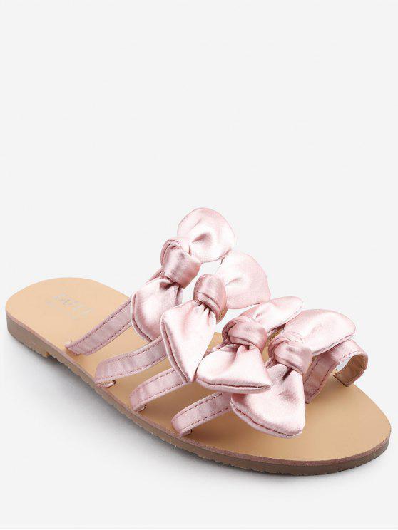 Bowknot decorado ocio plano talón tanga diapositiva sandalias - Cerdo Rosa 38