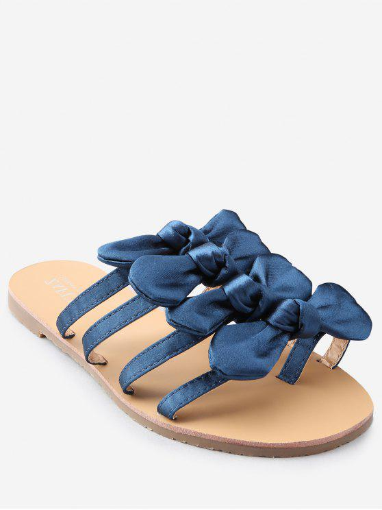 shop Bowknot Decorated Leisure Flat Heel Thong Slide Sandals - EARTH BLUE 36