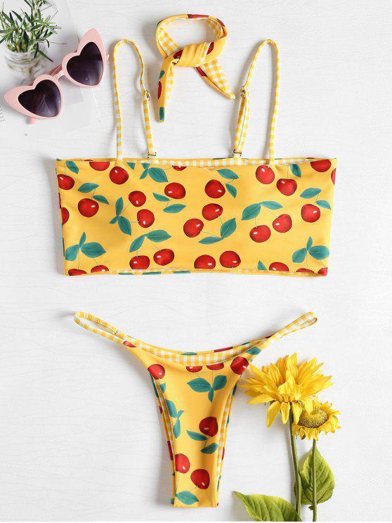 Bikini Stampato Ciliegia A Quadretti Con Choker - Gialllo Ape L