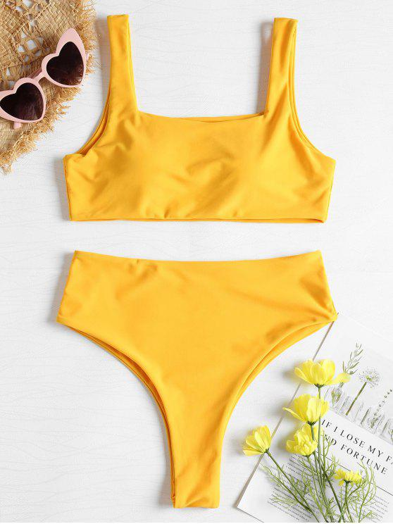 f8e8281a2fd 21% OFF] 2019 Square Neck High Waisted Bikini Set In RUBBER DUCKY ...