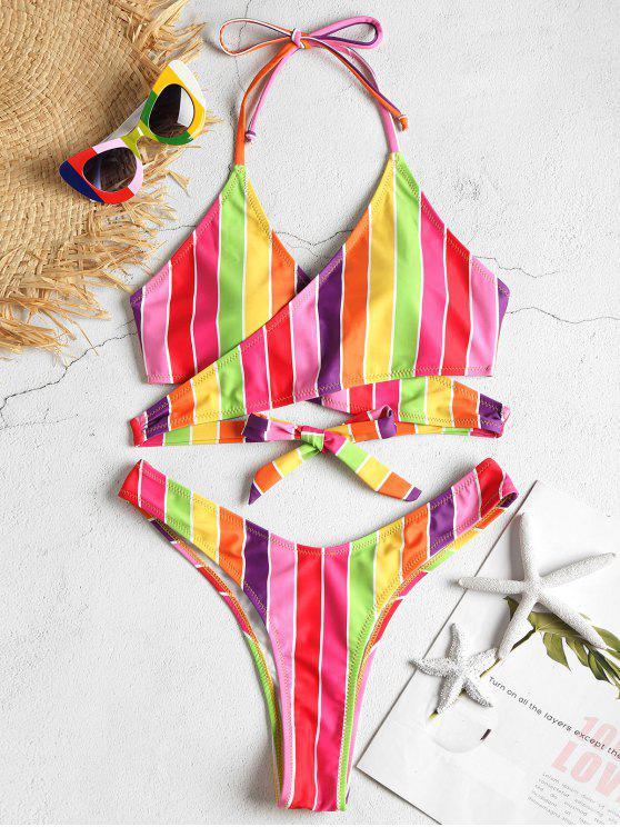ladies Rainbow Wrap Bikini Set - MULTI-J M