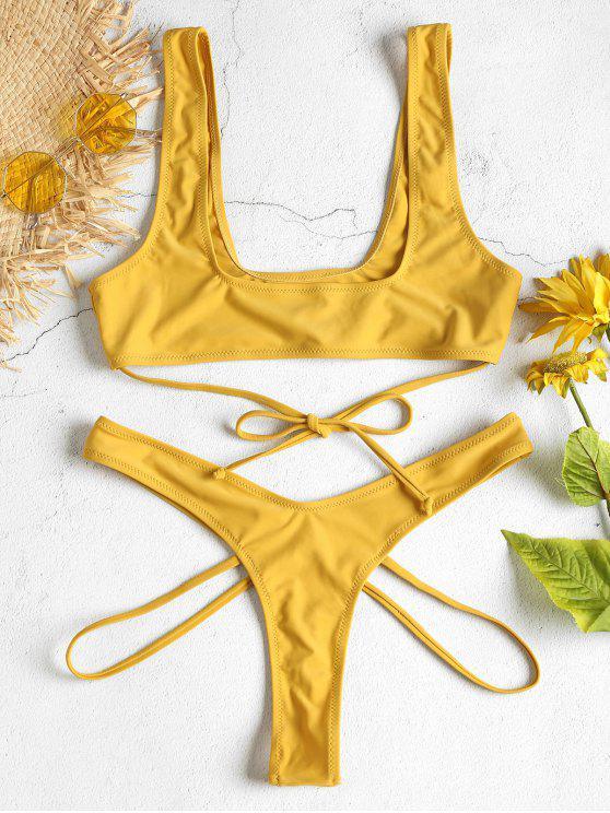 Conjunto de biquíni com tiras de tiras de gravata - Amarelo de Colheita S