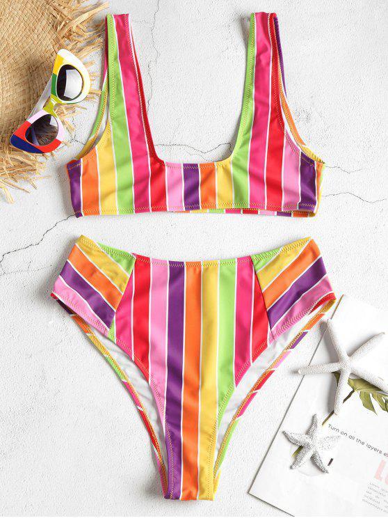 Conjunto de bikini de talle alto con rayas en el arco iris - Multi-J S