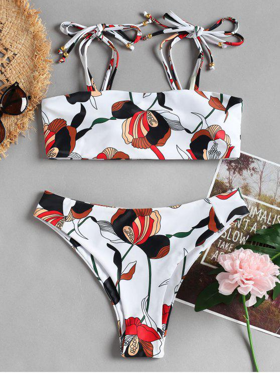 shop Tie Shoulder High Cut Print Bikini - WHITE S