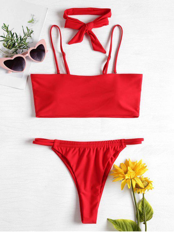 outfit Padded Thong Choker Bikini Set - RED S