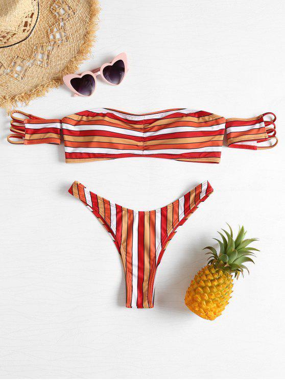 outfit Multi-Colored Stripe Off Shoulder Bikini - MULTI L