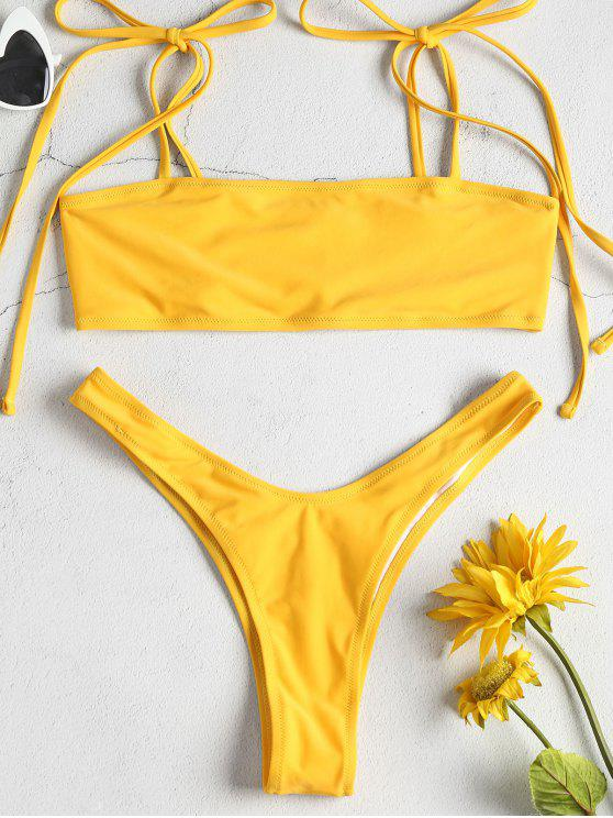 Tie Shoulders High Leg Bikini Set - المطاط الحبيب الأصفر S