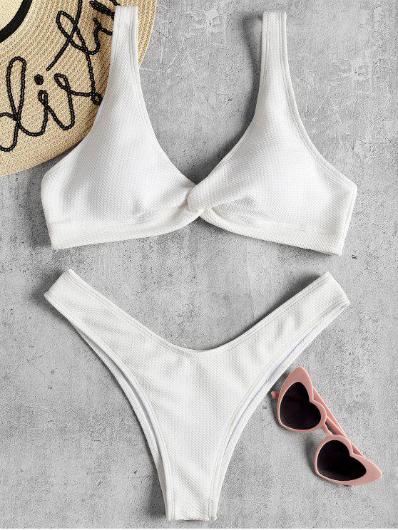 fancy Low Rise Textured Twist Bikini Set - WHITE S