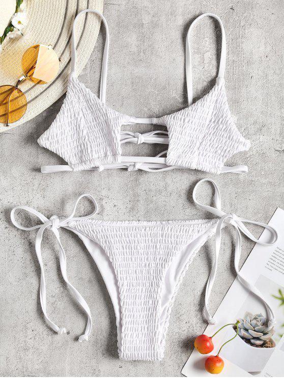 ZAFUL Schlüsselloch- Smocked  - Bikini  mit Schnur - Weiß M