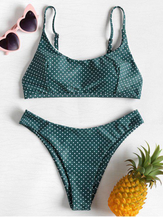 High Leg Polka Dot Bikini   Sea Green M by Zaful