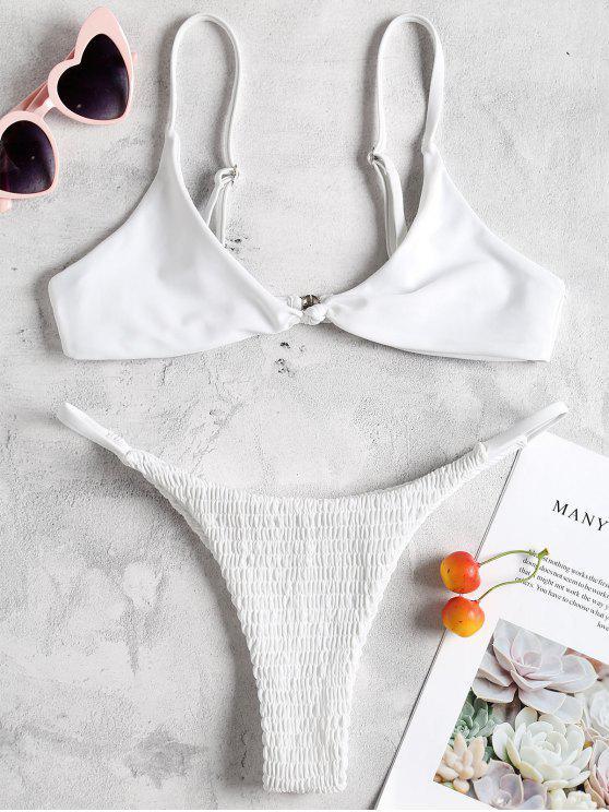 outfit Bralette Micro Smocked Bikini Set - WHITE S