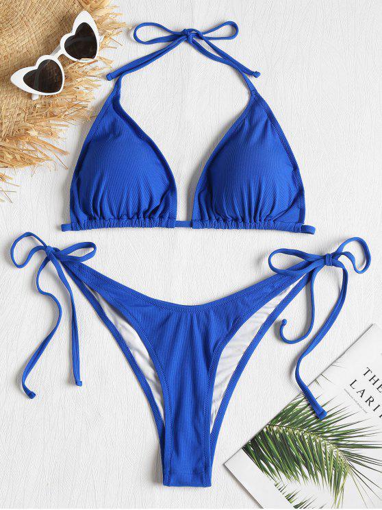 Conjunto de bikini acanalado de talla grande - Azul Cobalto 3X