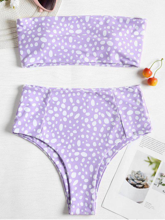 lady Bandeau Leopard High Waisted Bikini - PURPLE MIMOSA S