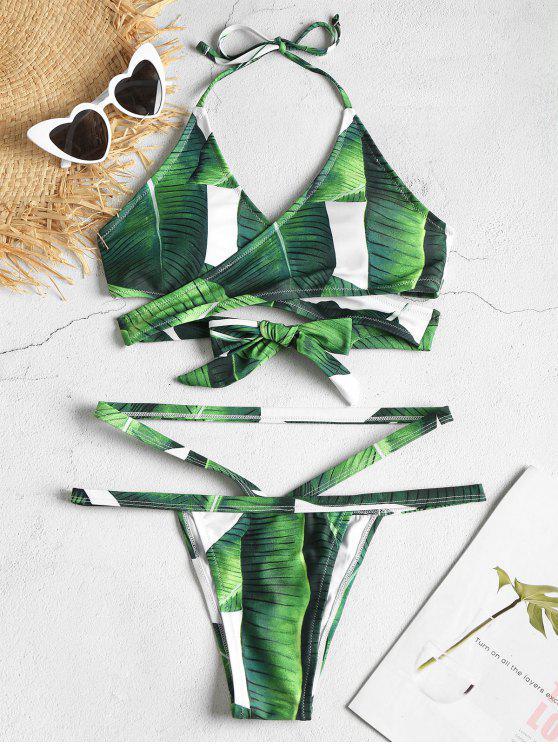 affordable Leaf Print Wrap Bikini Set - DEEP GREEN M