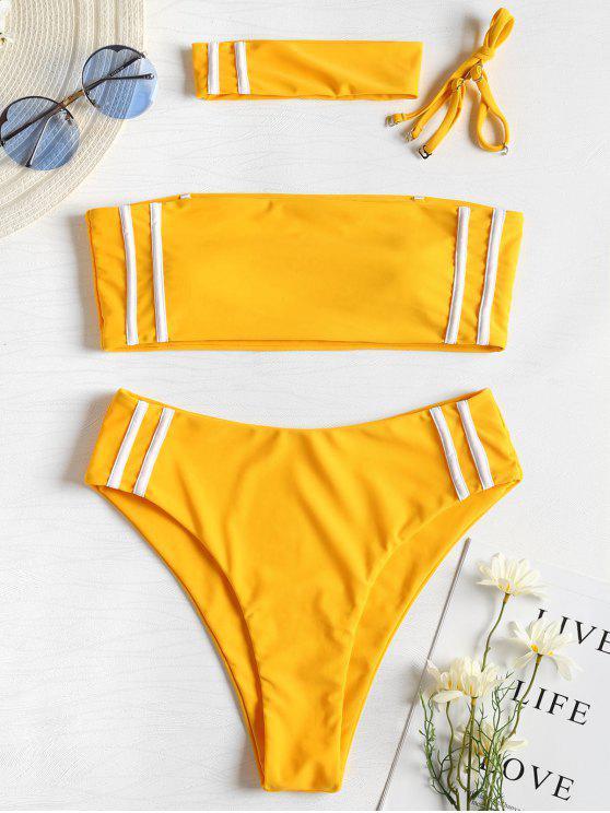 fancy Contrast Stripe Choker Bikini - BRIGHT YELLOW M