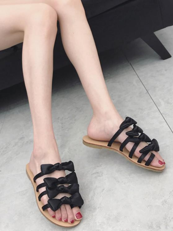 unique Bowknot Decorated Leisure Flat Heel Thong Slide Sandals - BLACK 37