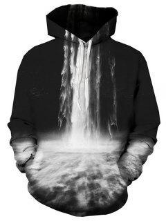 Hooded 3D Falls Print Pullover Hoodie - 3xl