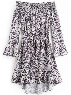 Off Shoulde Flare Sleeve Leopard Belted Dress - Leopard Print S