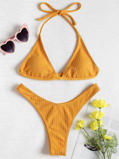 Conjunto De Bikini Acanalado De Pierna Alta - Amarillo Brillante S