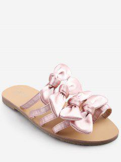 Bowknot Decorated Leisure Flat Heel Thong Slide Sandals - Pig Pink 37