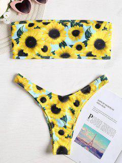 3D Sunflower Bandeau Bikini - Yellow L