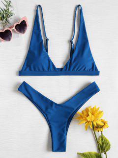 Maillot De Bain Bikini à Jambe Haut Plongeant - Bleu Glaciaire L