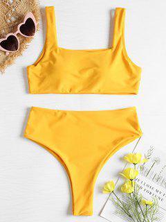 Quadratischer Ausschnitt Hoch Taillierter Bikini Set - Niedliches Gummi Gelb M