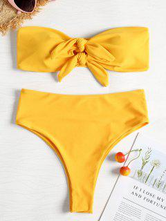 Knotted High Cut Bandeau Bikini - Bright Yellow L