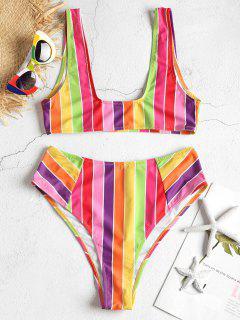 Ensemble De Bikini à Taille Haute Rayé Arc-En-Ciel - Multi-j M