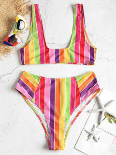 Regenbogen Gestreiftes Hoch Tailliertes Bikini-Set - Multi-j S