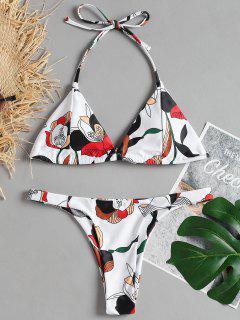 Bikini Con Estampado Halter Atado - Blanco M