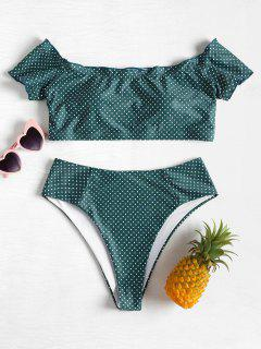 Off  Shoulder Dotted Plus Size Bikini - Sea Green L