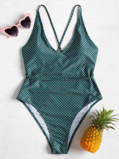 Cross Back Polka Dot Plus Size Swimsuit - Sea Green L
